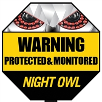 Night Owl Yard Stake Warning Sign