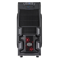 Cooler Master K380 ATX Computer Case w/ Red LED Fan - Black