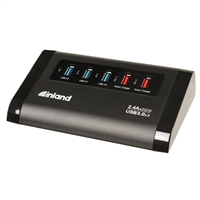 Inland 3-Port USB 3.0 Hub with 2x2.4A Smart Charger Ports