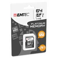 Emtec International 64GB Class 10 Platinum Secure Digital Extended Capacity SDXC Flash Media Card with Adapter