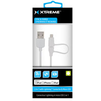 Xtreme Cables 3 ft. 2-in-1 8-Pin Lighting with Micro USB Connector