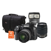 Pentax K-50 16.0 Megapixel Digital SLR with 18-55mm WR Lens, 50-200mm WR Lens, & AF200FG Flash Bundle Kit