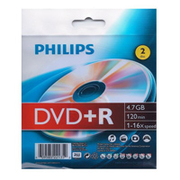 Philips DVD+R 16x 4.7GB/120 Minute Disc 2 Pack