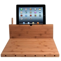 CTA Digital Bamboo Cutting Board with Stand and Knife Storage