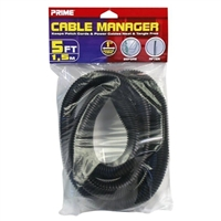 Prime Wire and Cable Cord Management PBCM0001 - 5 ft. Black Cable Manager Cord Cover