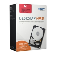 "HGST Deskstar NAS 6TB 7,200 RPM SATA III 6Gb/s 3.5"" Internal Desktop NAS Drive Kit 0S03839"