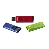 Verbatim 8GB USB 2.0 Flash Drive 3pk Red, Green, Blue