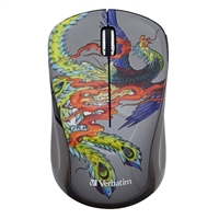 Verbatim Tattoo Series Wireless Notebook Multi-Trac Blue LED Mouse -  Pheonix
