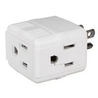 QVS Compact Space-Saver Grounded Power Outlet Splitter 3-Outlets