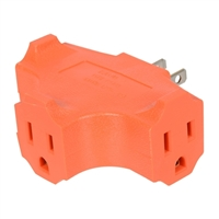 Inland 3-Way 3-Outlet Wall Plug Adapter - Orange