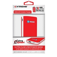 Xtreme Cables Ultra Slim Power Bank 4000mAh - Red
