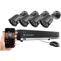 Amcrest 4CH 500GB DVR Security Camera System w/ 4 x 800TVL Bullet Cameras