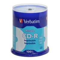 Verbatim White Inkjet Printable CD-R 52X 700MB/80 Minute 100-Pack Spindle