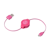 Emerge Retractable Micro USB Cable - Pink