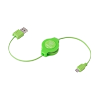 Emerge Retractable Micro USB Cable - Green