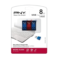 PNY P-FDU8GX3SLK-GE 8GB Micro Sleek USB 2.0 Flash Drive 3 pack