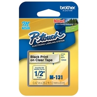 Brother M-131 12mm Black on Clear M tape for P-touch