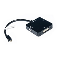 Cirago Mini-DisplayPort Male to HDMI Female /DVI-I Female /DisplayPort Female Adapter 4 in. - Black