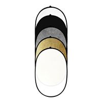 "Savage 36"" x 48"" White Black Gold Translucent Silver 5 in 1 Reflector"
