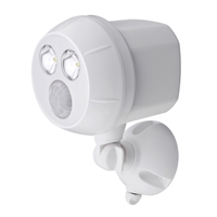 Mr. Beams MB380 Weatherproof Wireless Battery Powered LED Ultra Bright 300 Lumen Spotlight with Motion Sensor White