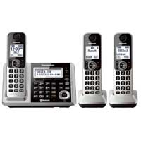Panasonic Link2Cell Silver Bluetooth Cordless Phone System - 3 Handsets KX-TGF373S