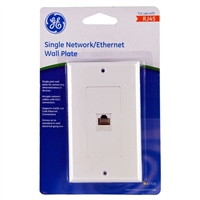 GE HDMI/Ethernet Wall Plate White