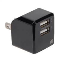 Inland 2-Port 2.4A/5V Wall Charger Black
