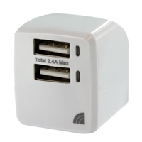 Inland 2-Port 2.4A/5V Wall Charger White