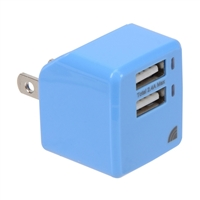 Inland USB Dual Port Wall Charger Blu