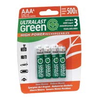 Ultralast High-Power AAA Green Rechargeable Battery - 4 Pack