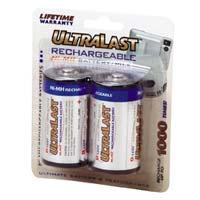 Ultralast Rechargeable D Batteries - 2 Pack