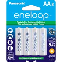 Eneloop AA NiMH 2000mAh Pre-Charged Rechargeable Batteries 8-Pack