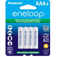 Eneloop AAA NiMH 800mAh Pre-Charged Rechargeable Batteries 8-Pack