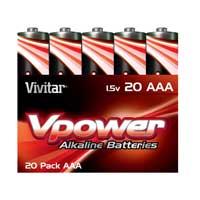 Vivitar Alkaline AAA Batteries V-20AAA-ALK - 20 Pack
