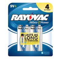 Rayovac 9V Alkaline Battery - 4 Pack