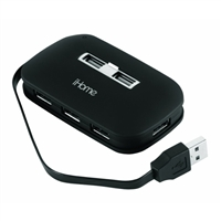 iHome Notebook 7-Port USB 2.0 Hub with AC Adapter - Black