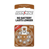 Rayovac Hearing Aid Battery 312 - 8 Pack