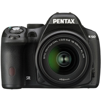 Pentax 16MP K-50 Digital Camera with DA L 18-55 Lens Black