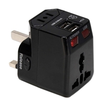 QVS Premium World Power Travel Adapter Kit with Surge Protection and 2.1Amp Dual-USB Charger