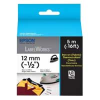"Epson LabelWorks Iron on (Fabric) LC Tape Cartridge 1/2"" Black on White"