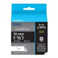 "Epson LabelWorks Standard LC Tape Cartridge 1/2"" White on Black"