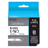 "Epson LabelWorks Standard LC Tape Cartridge 1/4"" Black on White"