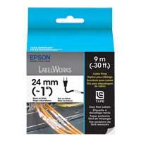 "Epson LabelWorks Cable Wrap LC Cartridge 1"" Black on White"