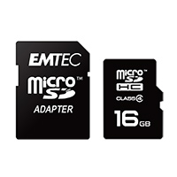Emtec International 16GB microSDHC Class 4 Flash Memory with Adapter