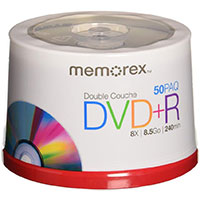 Memorex DVD+R DL 8x 8.5GB/240 Minutes Disc 50 Pack Spindle