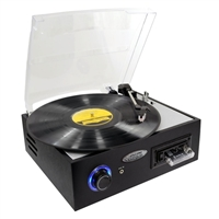 3-Speed Multifunction Turntable w/ Cassette & MP3 Recording