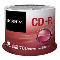 Sony CD-R 48x 700MB/80 Minute Discs 50 Pack Spindle