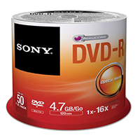 Sony DVD-R 16x 4.7GB/120 Minute Disc 50 Pack Spindle