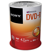 Sony DVD-R 16x 4.7GB/120 Minute Disc 100 Pack Spindle