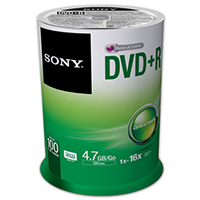 Sony DVD+R 16x 4.7GB/120 Minute Disc 50 Pack Spindle